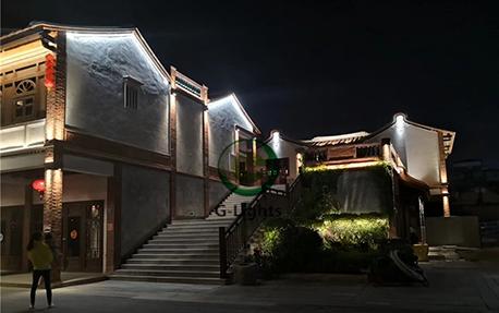 小镇古建筑夜景亮化案例